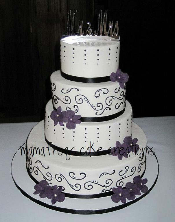 Beautiful Black White And Purple Wedding Cake Provided By Mon Petite Cake