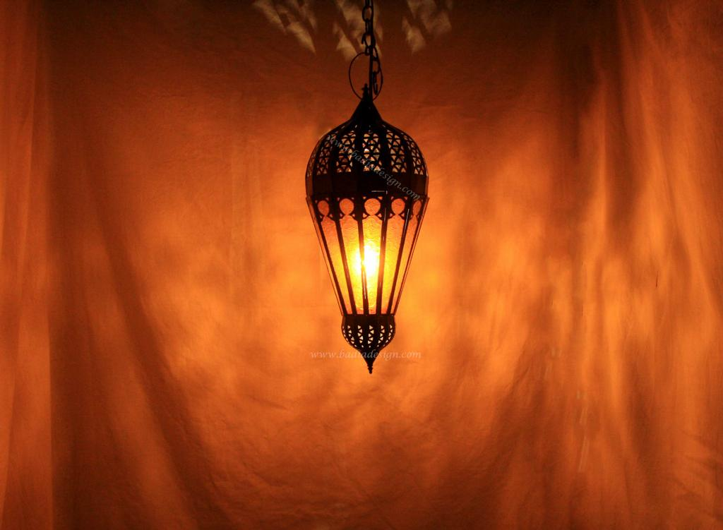 Moroccan Lantern With Amber Color Glass By Badia Design Inc    Wholesale/Retail/Rental