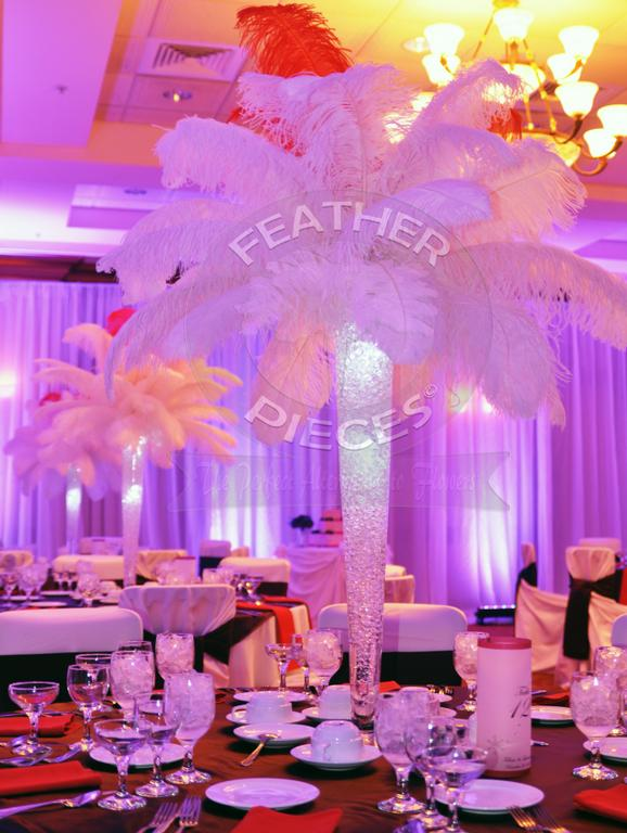 Ostrich feather centerpieces party favors ideas