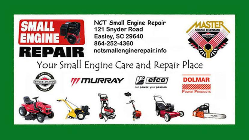Nct authorized cards school2 from nct small engine repair for Small motor repair near me