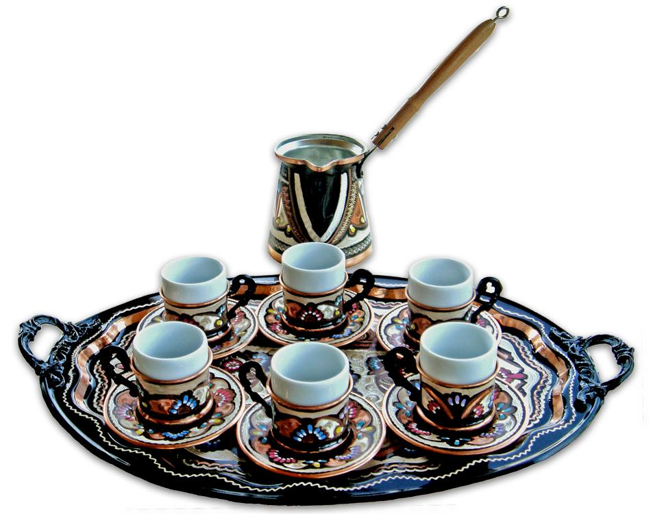 Set 6 Cups Oval Tray From Turkish Coffee World In