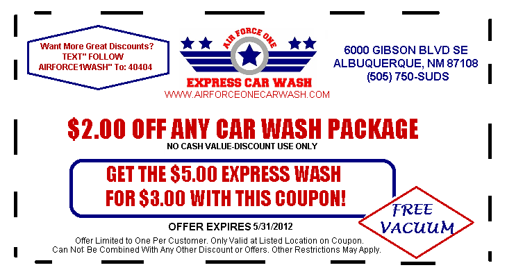 Coupon off valid until 5 2012 png from air force one for Motor vehicle express albuquerque