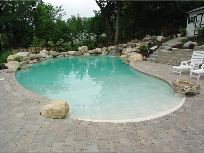 Custom Bouldered Beach Entry Pool With Waterfall From Landscapes4less In Poughkeepsie Ny 12601