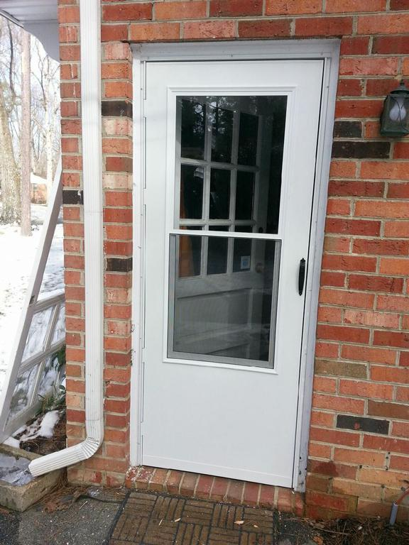 Door frame storm door frame replacement for Replace window with door