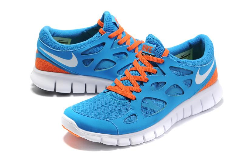 nike free run orange and blue