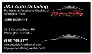 Business card from jj auto detailing in wilmington nc 28412 jj auto detailing colourmoves