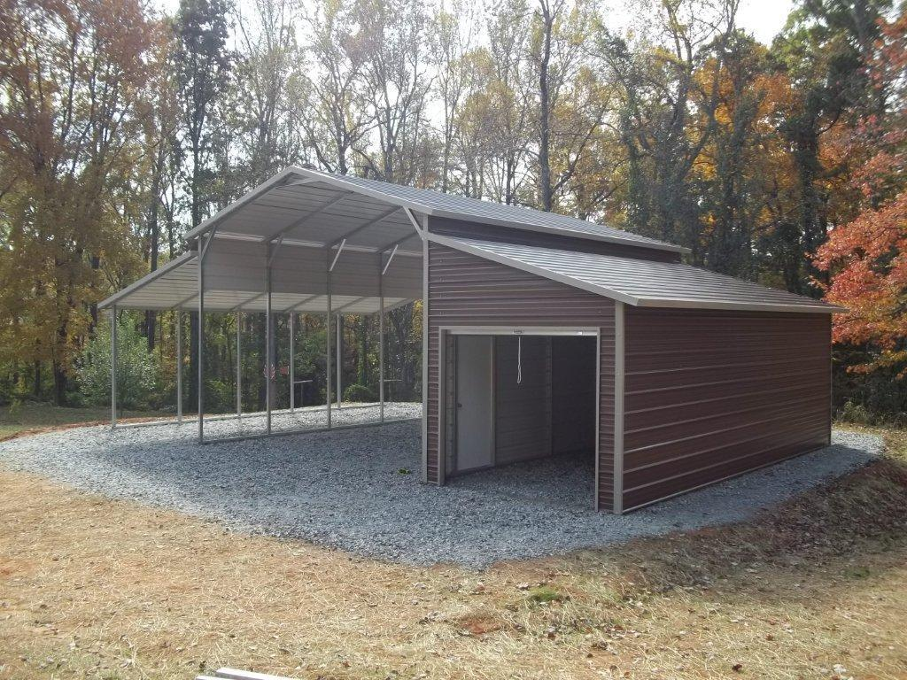 Barn with one lean to enclosed from r b metal structures for Barn style carport