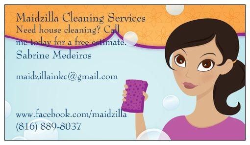 Business Card from Maidzilla Cleaning Services in Raymore, MO 64083