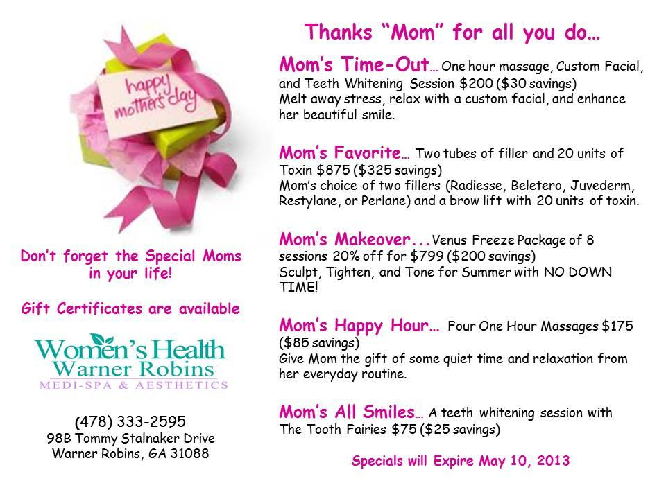Mother's Day Specials! from Women's Health Warner Robins ...