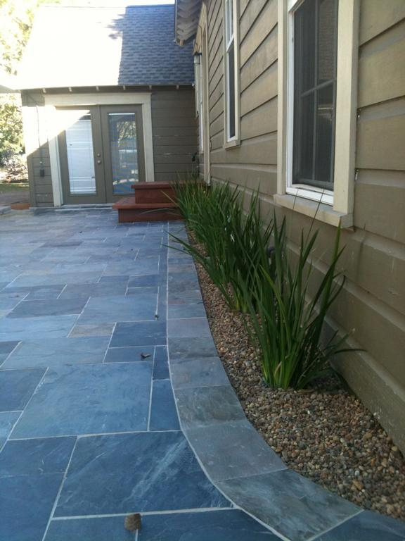Patios slate patio rustic for Outdoor furniture 77386