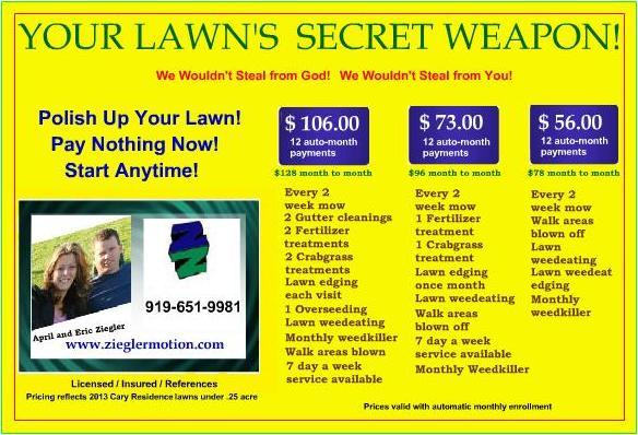 Lawn Care Postcard Backup from Ziegler Motion Lawn Care in Cary ...