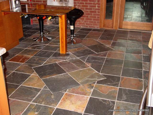 RUSTIC SLATE KITCHEN FLOOR by Creative Marble and Tile