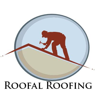 roofal roofing logo brown guy standing on a roof from