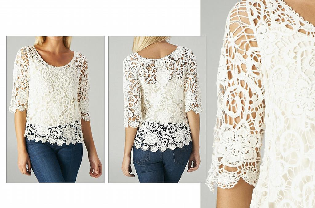 Off-White Lace Top from Kelly's Closet in Kingwood, TX 77339