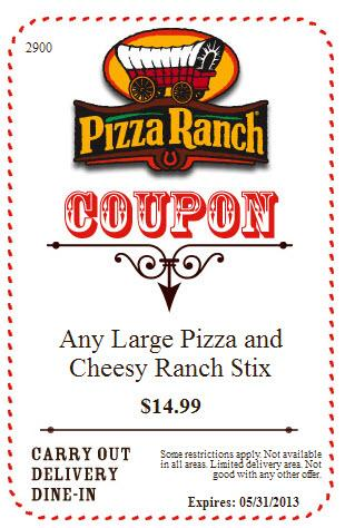 Apply the Pizza Ranch Coupon at check out to get the discount immediately. Don't forget to try all the Pizza Ranch Coupons to get the biggest discount. To give the most up-to-date Pizza Ranch Coupons, our dedicated editors put great effort to update the discount codes and deals .