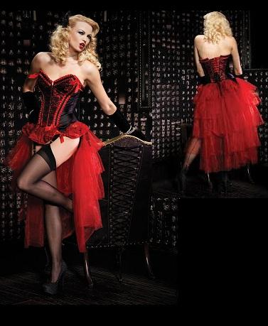 Black Red Burlesque Lace up Corset Skirt Dress Set from Plus Size ...