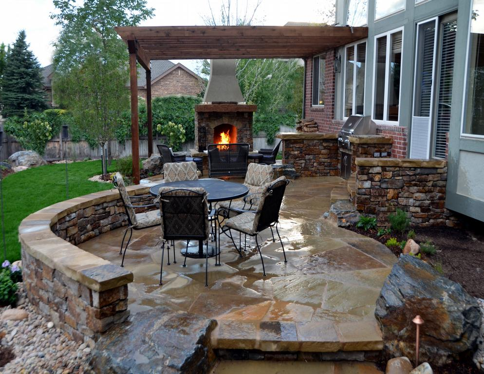 Pictures for mile high landscaping in denver co 80204 for Outdoor stone kitchen designs