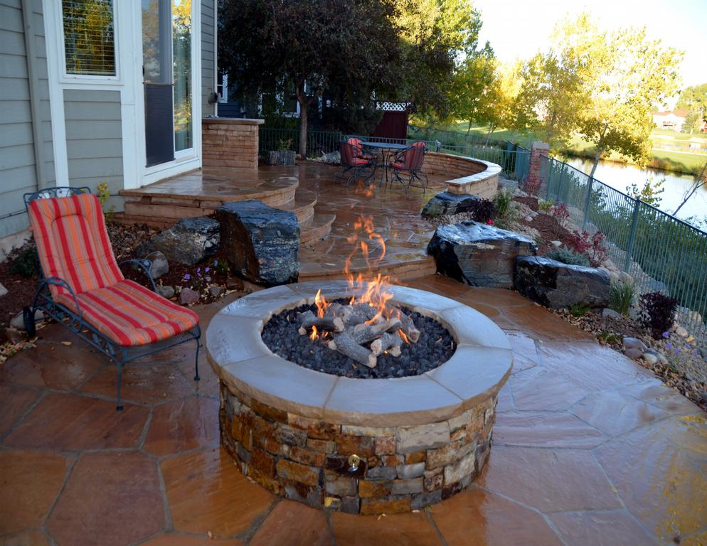 Naturalistic Landscape With Flagstone Patio And Fire Pit