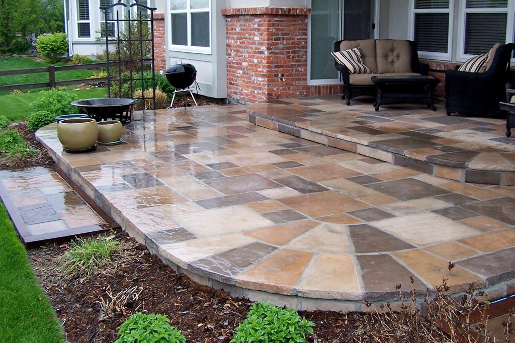 Dimensional Multi Color Patio Stone Over Existing Concrete