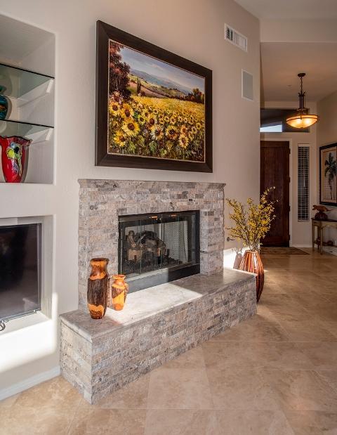 Scottsdale Custom Fireplace Remodel Silver Travertine from Custom ...