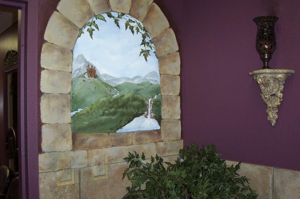 Castle window painted mural from salon marquis a for Castle window mural