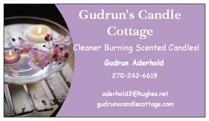 My business card from gudruns candle cottage in big clifty ky 42712 by gudruns candle cottage colourmoves Choice Image