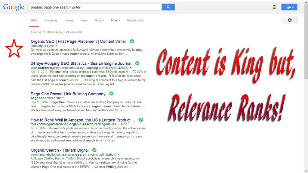 For a site to be on the first page it must be relevant for it. by SEOScriptor Organic SEO Placement Specialist