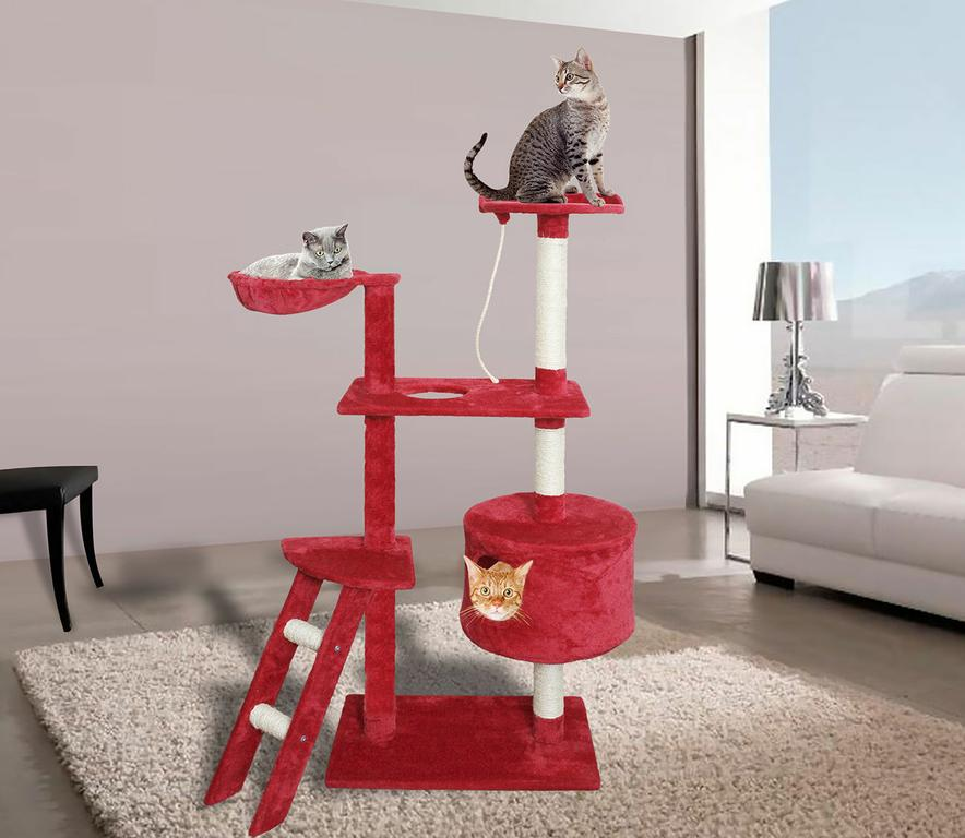Red White Cat Tree Play House Tower Condo Furniture Scratch Post Bed Basket by Shechosethecat