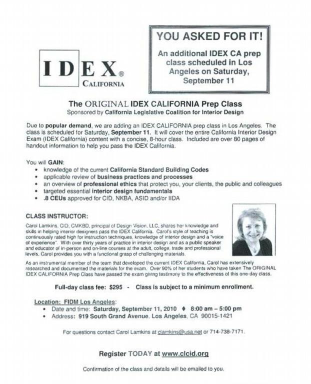 IDEX California Prep Class