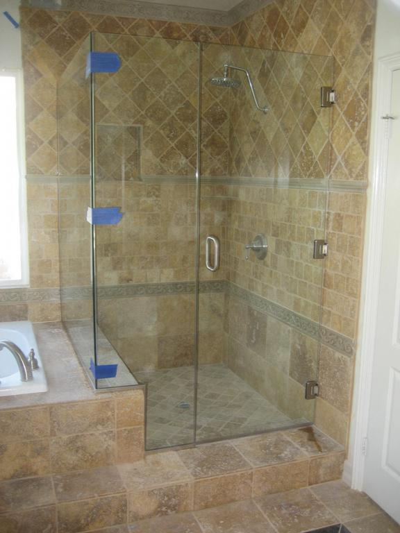 90 Degree Shower Enclosure With Small Bench Seat And