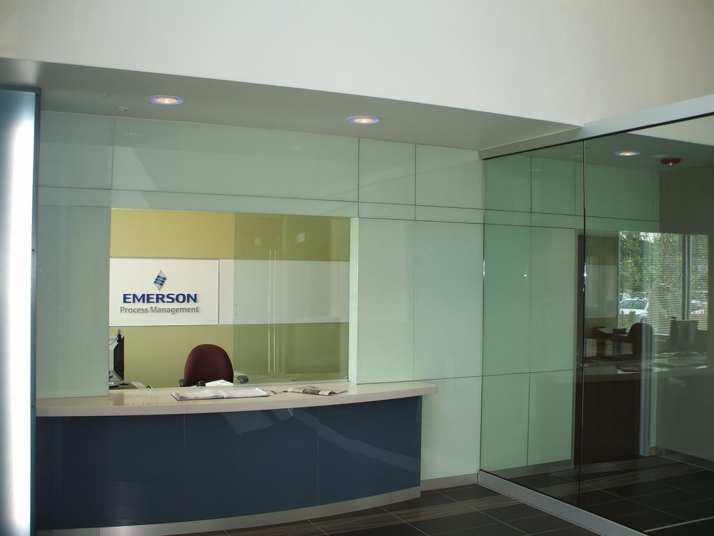 reception desk amp glass wall from hillcrest glass in