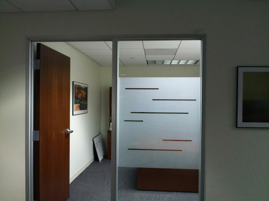 Frosted glass designs for office viewing gallery