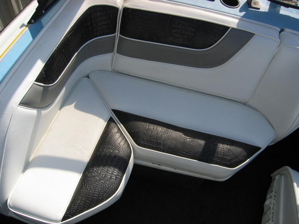 Custom boat seats w gator from sew creative upholstery inc in turlock