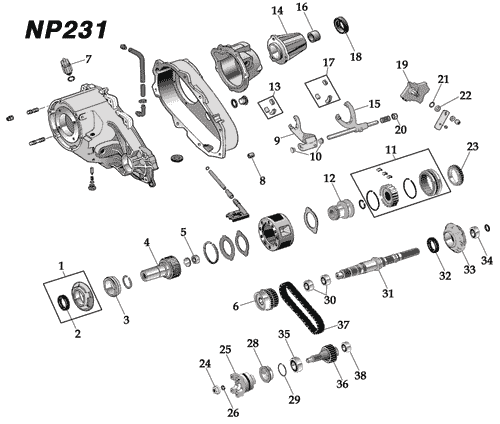 jeep np231 transfer case parts breakdown
