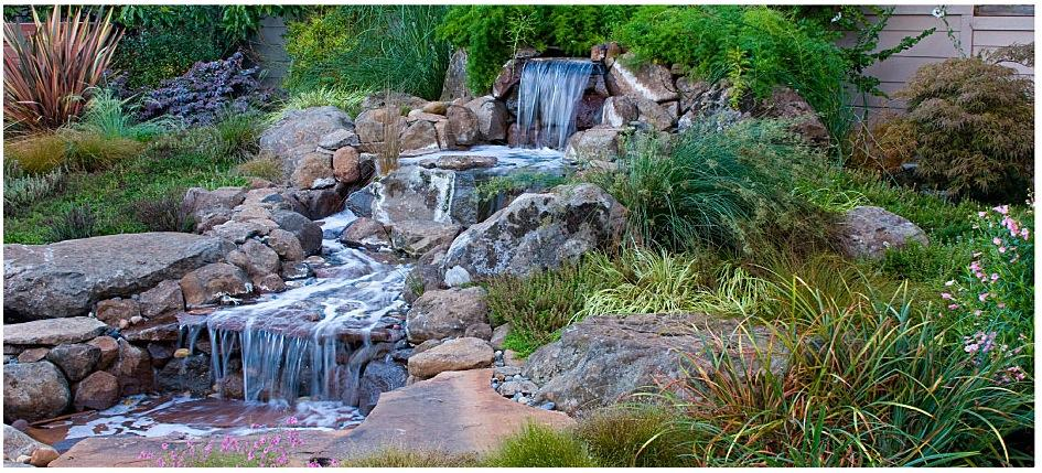 Waterfall Landscape Design Ideas a final look at the waterfall showing the way the water rolls down multiple rock Soothing Backyard Waterfall Ideas Graceful Backyard Waterfall