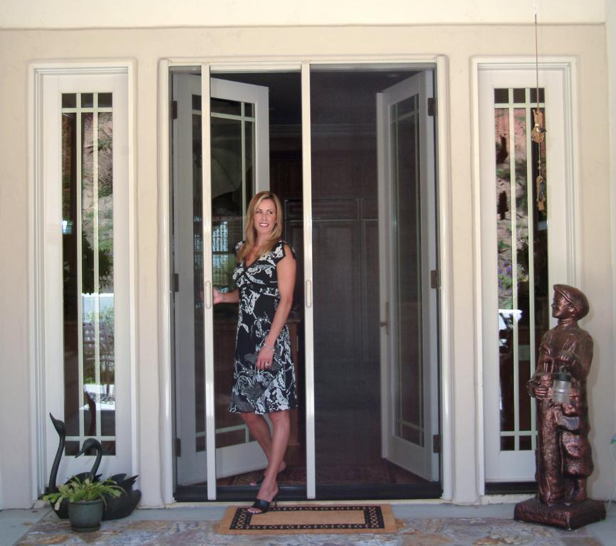Retractable screen french door from his clearview for Screen doors for french doors