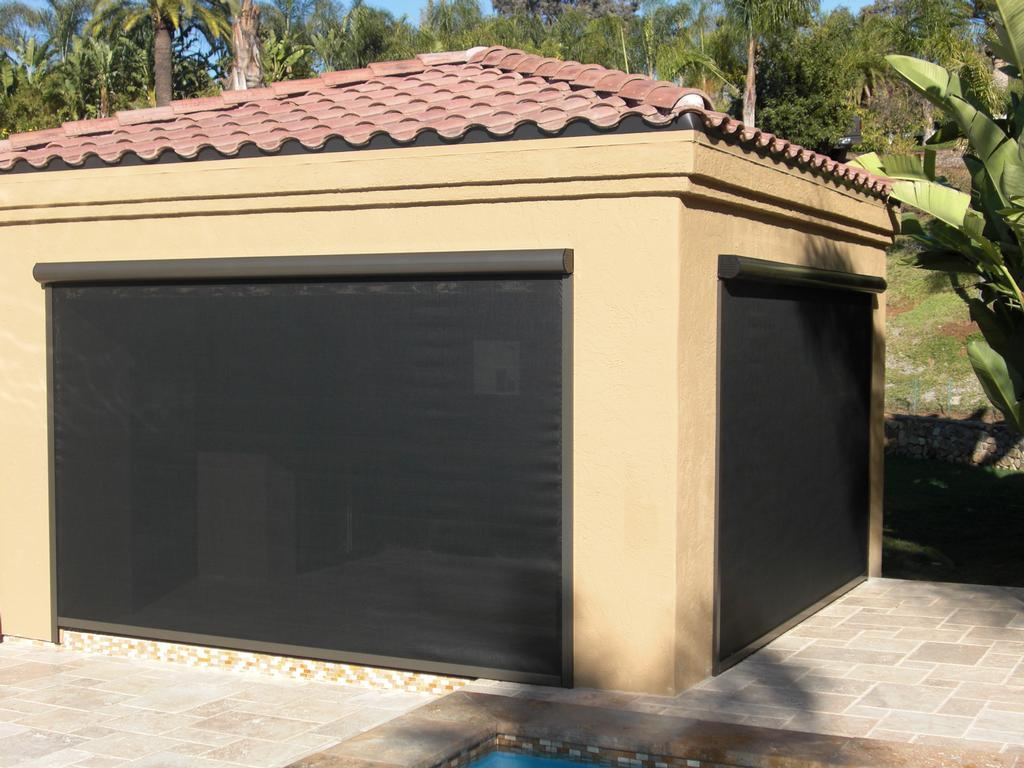 Patio shade from his clearview retractable screen doors in for Shade cloth san diego