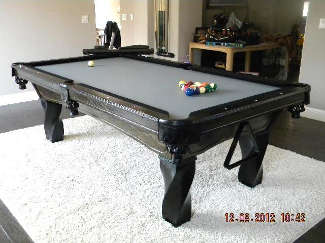 Ebony Bruton Table W/Twist Legs   Black Shields   Black Rails Over Steel  Grey Bed Cloth.