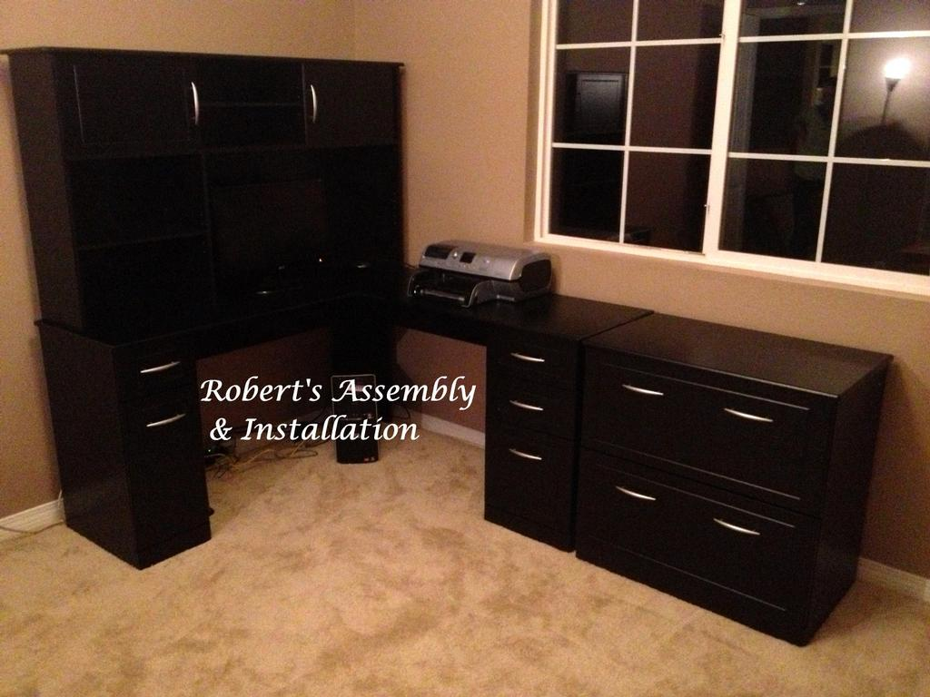 STAPLES CHADWICK ALTRA L SHAPE DESK HUTCH AND LATERAL