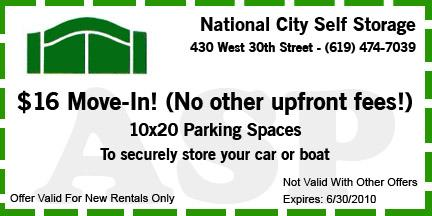National City Self Storage Coupon 1