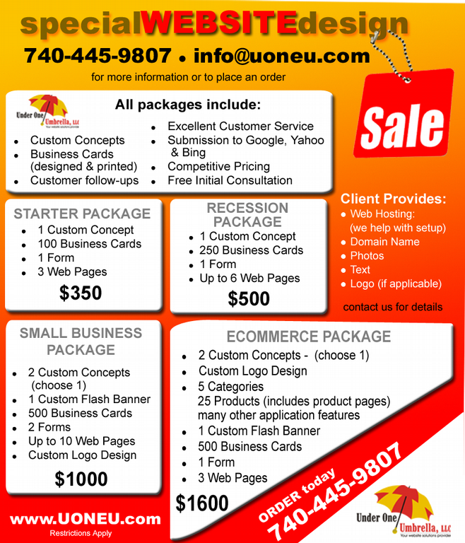 specialPromos by Under One Umbrella  Website Solutions