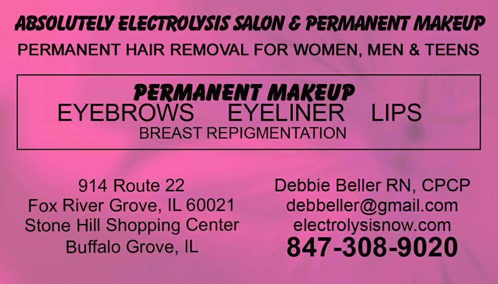 Pictures for absolutely electrolysis salon permanent makeup in fox business card 1 reheart Image collections
