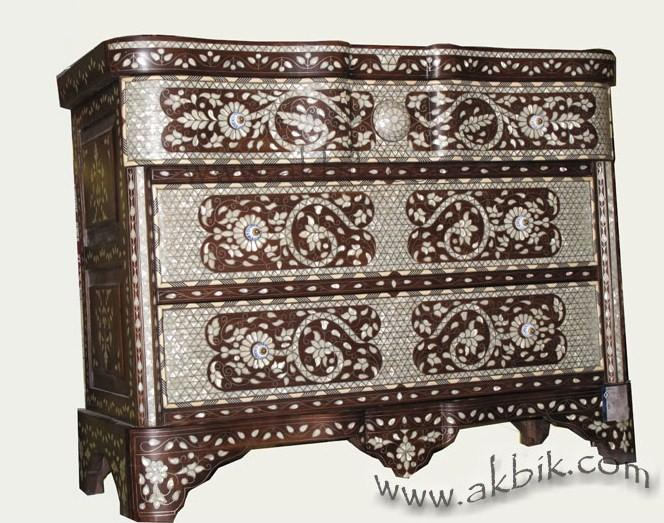 Akbik Com Dresser Chest Mother Of Pearl Inlay Syrian