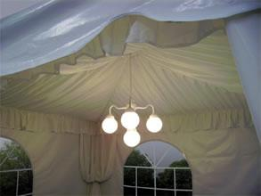 tent liner with drpes and globe lighting & A1 Tent Masters Inc - River Grove IL 60171 | 708-906-4770