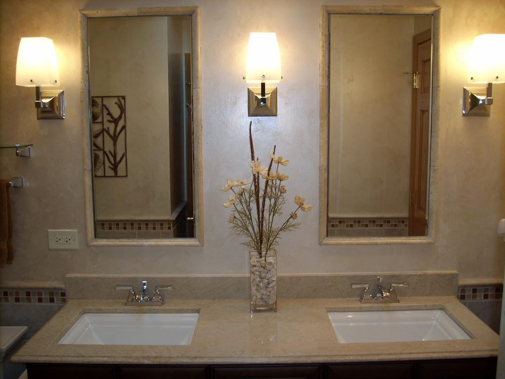Marble Top Over A Custom Vanity With Tile Around The