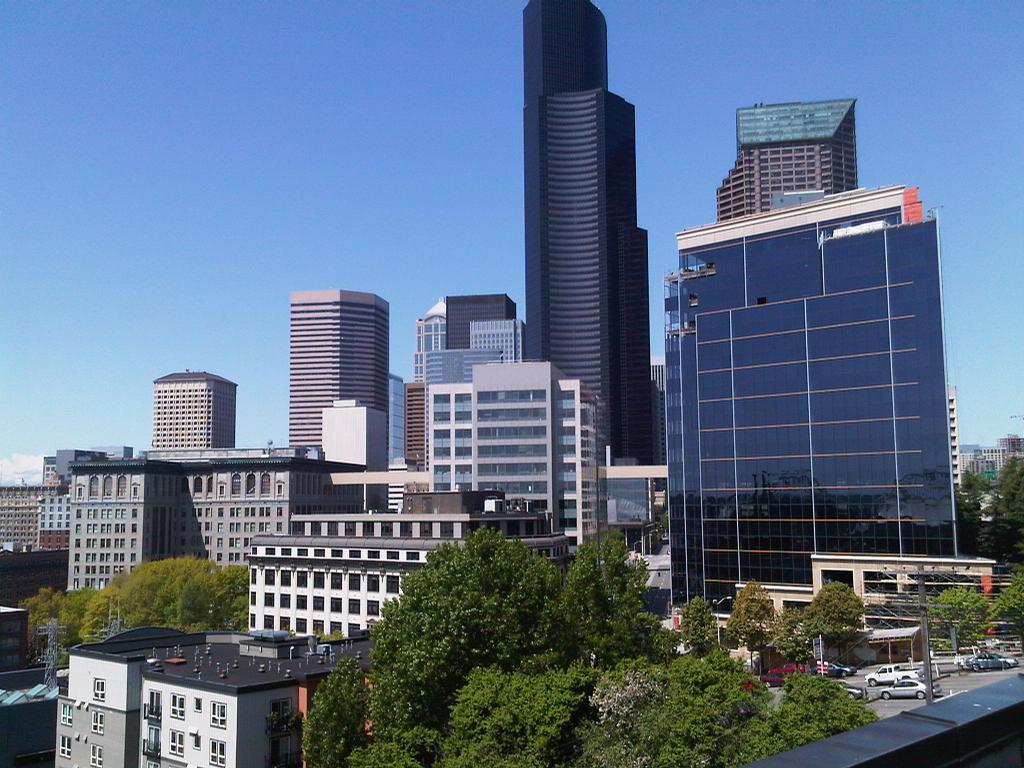 City view from deck from metropolitan park apartments in for Seattle view apartments