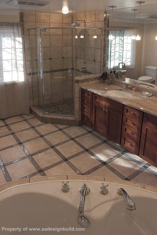 Pictures for a a design build remodeling in washington dc for Master bathroom with corner tub