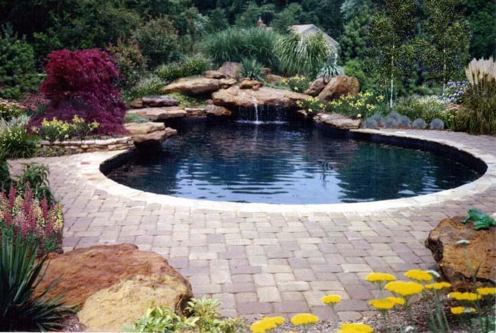 Swimming pool designs with waterfalls home decorating ideas - Natural swimming pool design ...