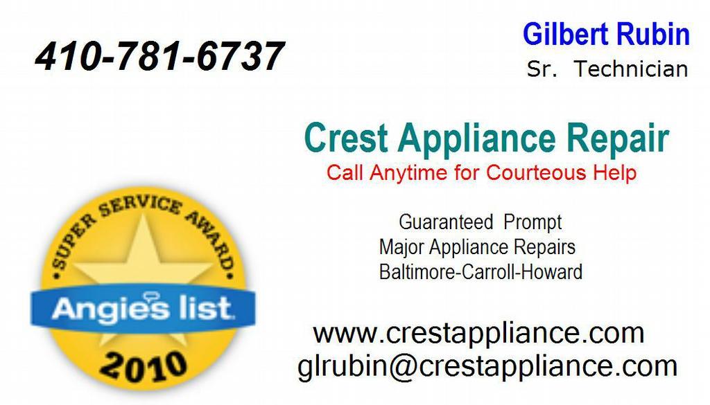 Crest Appliance Repair Sykesville Md 21784 410 781 6737