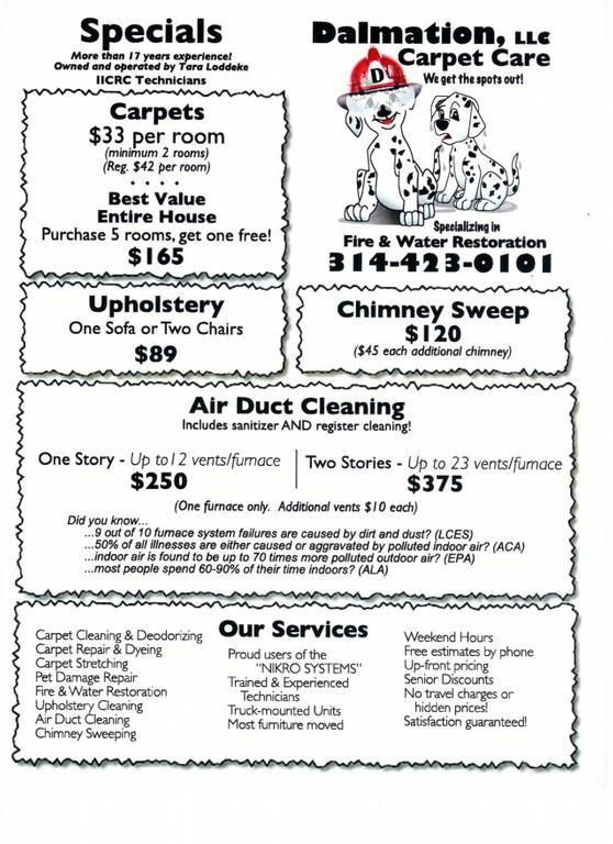 Dalmation Carpet Care Florissant Mo 63031 314 423 0101